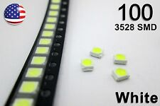 100pcs 3528 White Super Bright LEDs - 1210 SMD Light Emitting Diodes 100 Pack