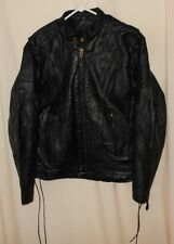 CAFE MOTORCYCLE LEATHER JACKET MESH VENTS CLASSIC BIKER STYLE SZ 42