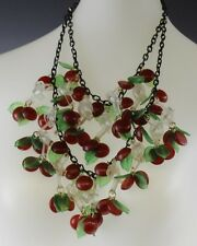 Signed JAN CARLIN Layered Lucite Wild Cherry Blossom Pendant Statement Necklace