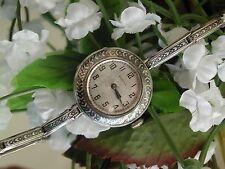 Art Deco Bulova Sterling Silver Enamel Watch ~ Enamel Sterling Silver Band~ Runs