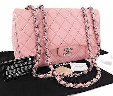 Authentic CHANEL Pink Quilted Lambskin Leather Chain Shoulder Flap Bag #24071