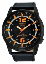 Pulsar X Collection Black Sports Watch Solar Technology Leather Strap PX3081