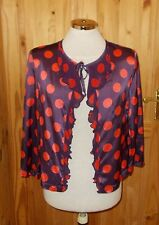 WHISTLES purple red polka dot spotted satin 3/4 sleeve tie-front cardigan top 10