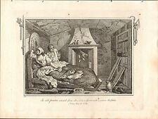 1818 grabado Hogarth georgiano el mar inactivo Prentice devuelto desde ~ prostituta