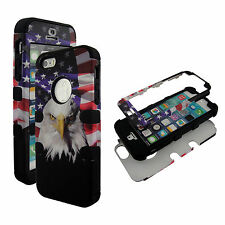 Hybrid Tuff Patriot Eagle Blk Strip Apple iPhone 5S Case Cover  Protector ZX
