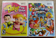 Nintendo Wii Lot - My Baby First Steps (New) Birthday Party Bash (New)