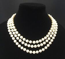 Franklin Mint Jackie Kennedy Faux Pearl & 925 Silver Necklace-Neva Ltd.    *2671
