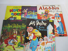Color by Number Coloring Book Vtg 1970s Ali Baba Sinbad Red Riding Hood Set of 5