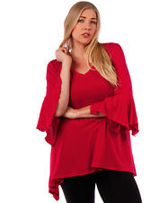 NEW! WOMEN'S PLUS SIZE CLOTHING RED BLOUSE WITH BELL SLEEVE DESIGN 6X