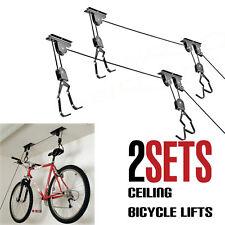 Bike Bicycle Lift Ceiling Mounted Hoist Storage Garage Hanger Pulley Rack 2 Pack
