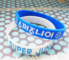 FASHION SUPER JUNIOR Support wristband Wrist strap Bracelet X2 White&Blue WB