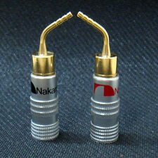 1Pair Speaker Wire 24k Gold-plated Nakamichi Pin Connector Banana Plug Brass New