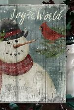 Primitive Christmas Sign Joy to the World Snowman Wooden Vintage Sign 2 of 4