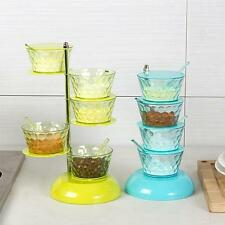5-Tier Salt Box Spice Container Seasoning Organizer Spice Rack Clear