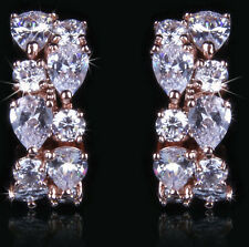 14k Rose Gold Earrings made w/ Authentic Swarovski Crystal Stone AB Clear