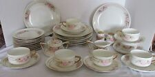 "35 PCS BAVARIA HP SIGNED ""ES"" PINK FLORAL LUNCHEON DESSERT SET BEAUTIFUL!"