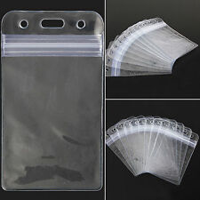 10X ID Card Vertical Plastic Badge Holder Vinyl Transparent Clear With Zipper HF