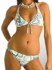 New White Blue Bikini Set UK 8 Aus 10 Halter Neck removable padding Ladies