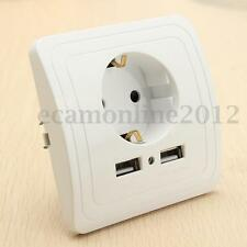 Dual Two Port USB Wall Charger Adapter Power Outlet Panel EU Plug Wall Socket
