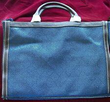 LG Navy Brown Herringbone ESTEE LAUDER Purse Tote Bag Handles Cosmetic Vacation