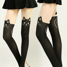 Lady Girl Cat Tail Stretch Stockings Hosiery Tattoo Knee High Long Socks Tights