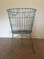 Distressed Wire Basket On Stand