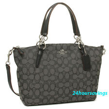 COACH Outline Black Signature Small Kelsey Satchel Crossbody Tote Handbag 36625