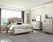GLAMOROUS METALLIC PLATINUM KING MIRRORED BED N/S DRESSER MIRROR FURNITURE SET