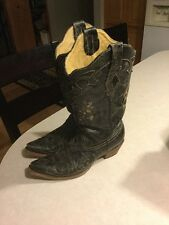 Corral Black Lizard Inlay Womens Boots, Size 9, Preowned