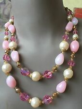COLLIER NECKLACE 1960 ROSE BLANC VERRE MURANO & TCHÈQUE VINTAGE 2 RANGS FERMOIR