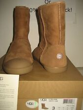 NEW UGG Australia Youth US 3 Women 5 Kids Classic Short Delaine Chestnut Boots