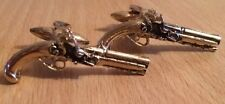 Mens Gilt Pistol Gun Cufflinks (Steampunk)