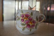 Vintage White Mustache Cup with Pink Flowers and Gilt Gold Leaf