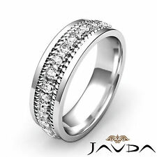 Pre-Set Round Diamond Men Eternity Wedding Band Platinum 8.5mm Stunning Ring 1Ct