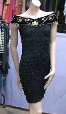 Exquisite French LBD Black Wiggle Dress 8-10 Velvet Crystals Swirls & Gold Beads