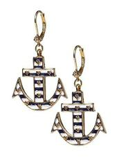 Betsey Johnson Ivy League Blue White Striped Large Anchor Drop Earrings NWT $35