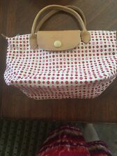 AUTHENTIC LONGCHAMP RED PINK  POLKA DOT COTTON SMALL BAG