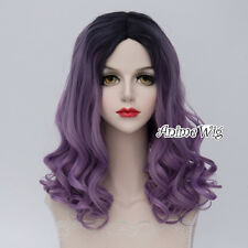 Black Mixed Purple Lolita Wig Heat Resistant Anime Cosplay Halloween Curly Short