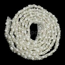 1yard White Beaded Lace Trim Sewing Iron on Pearl Trim For Wedding Costume