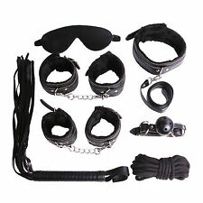7 Pcs BDSM Bondage Restraints Set Kit Ball Gag Cuff Whip Collar Fetish Sex Toys