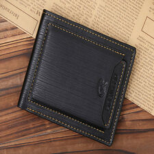 Brown Retro Men Leather ID Credit Card Holder Case Wallet Pockets Clutch Bifold