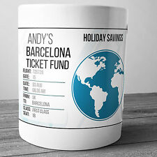 BARCELONA PERSONALISED HOLIDAY SAVINGS MONEY BOX TRAVEL FUND