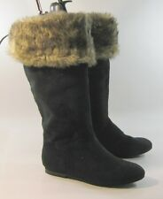 new blacks flat knee sexy  boot comfortable  ROUND TOE Size.  6
