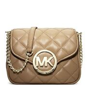 New Michael Kors Fulton Quilt Small Flap Crossbody Leather Dark Khaki