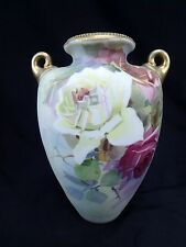 Antique Japanese Nippon Morimura Vase Hand Painted Roses Light Moriage 10""