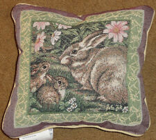 Woodland Sanctuary ~ Easter Bunny Rabbits Tapestry Toss Pillow