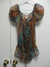 Fire Los Angeles Multi-Color Sheer Tunic Style Top, sz S