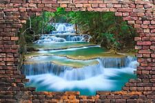 """Waterfalls in the Forest Viewed through a Brick Wall 