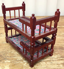 Dollhouse Doll House Collectible Bunk Bed Red Wood Twin Bunks Spindles AS IS