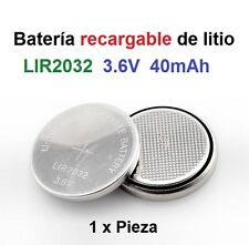 Batería recargable de Litio LIR2032 3.6V 40mAh Lithium Cell Button Battery